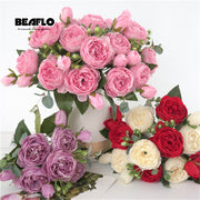 heads Artificial Peony Tea Rose Flowers Camellia Silk Fake Flower flores for DIY Home Garden Wedding Decoration