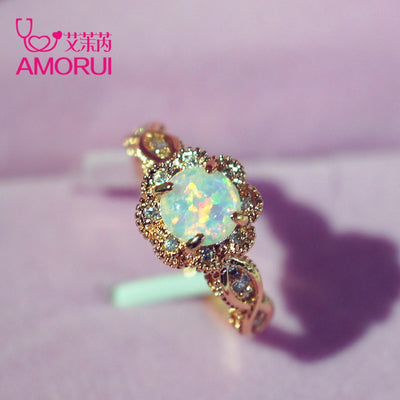AMORUI Vintage Australian Crystal Flower Ring Female Anniversary Gift Jewelry Fashion Golden Opal Engagement / Wedding Rings