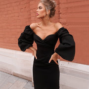 V Neck Off Shoulder Lantern Sleeve Dress