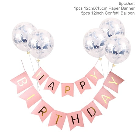 1set Happy Birthday Letter Banner Rose Gold Confetti Balloons Baby Shower Birthday Party Decorations Boy Girl Kids Party Favors