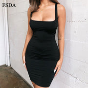 FSDA Square Neck Sleeveless Bodycon Mini Dress Basic Women Summer Black Backless Party Sexy Yellow Clubwear 2020 Dresses