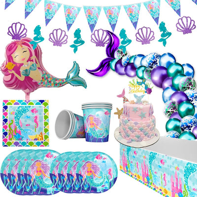 WEIGAO Little Mermaid Party Decor Mermaid Birthday Party Disposable Tableware Kit Under the Sea Girl First Birthday Party Supply