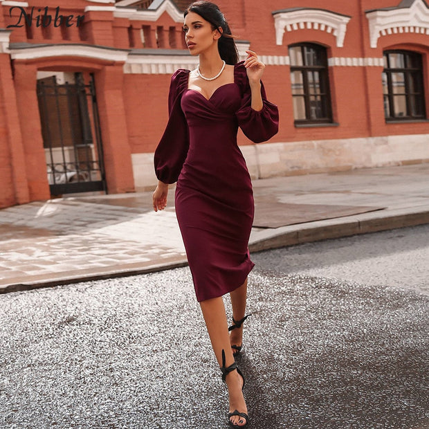 Nibber sexy pure V Neck off shoulder bodycon dress women autumn winter club party night red Elegant midi dress Mujer black dress