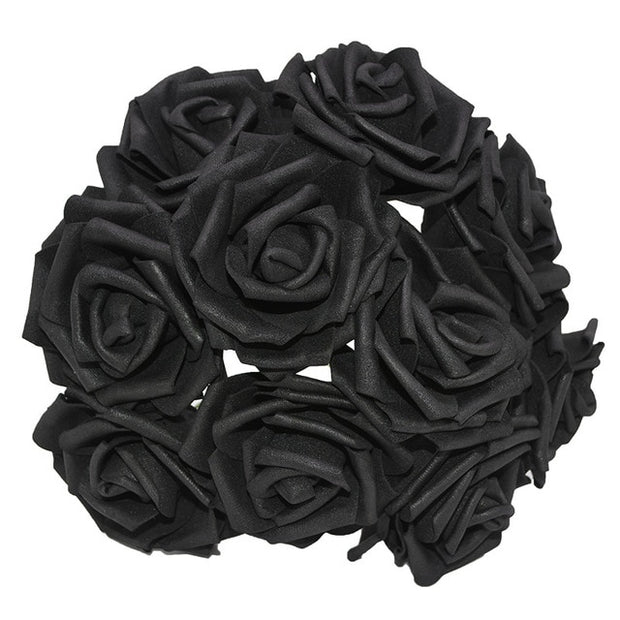 25 Heads 8CM New Colorful Artificial PE Foam Rose Flowers Bride Bouquet Home Wedding Decor Scrapbooking DIY Supplies