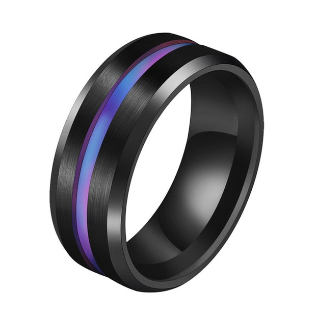 Letdiffery Hot Sale Groove Rings Black Blu Stainless Steel Midi Rings For Men Charm Male Jewelry Dropshipping