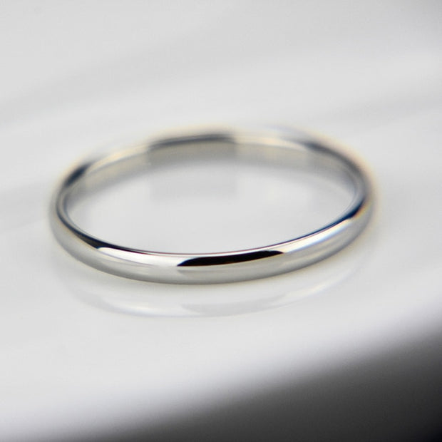 Letdiffery Smooth Stainless Steel Couple Rings Gold Simple 4MM Women Men Lovers Wedding Jewelry Engagement Gifts