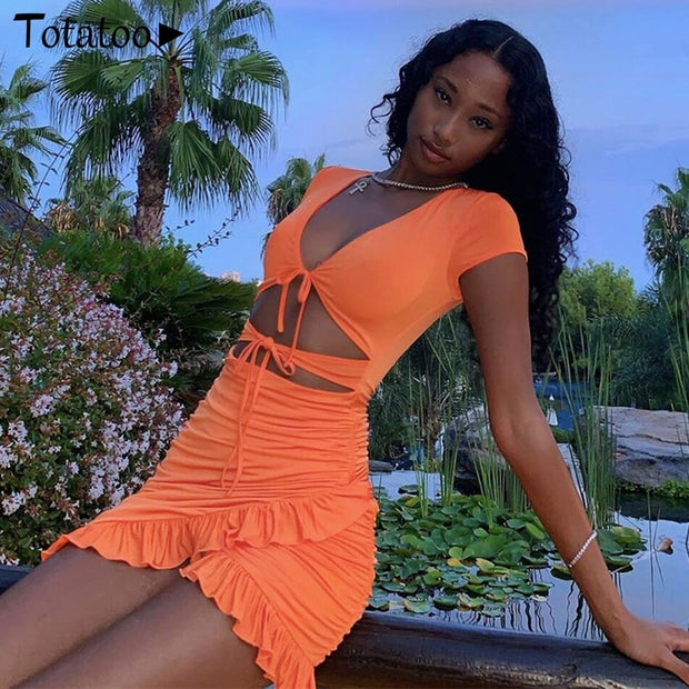 Totatoop Lace Up V Neck Ruched Bodycon Mini Dress Women 2020 Summer Hollow Out Ruffles Sundress Beachwear Vestidos