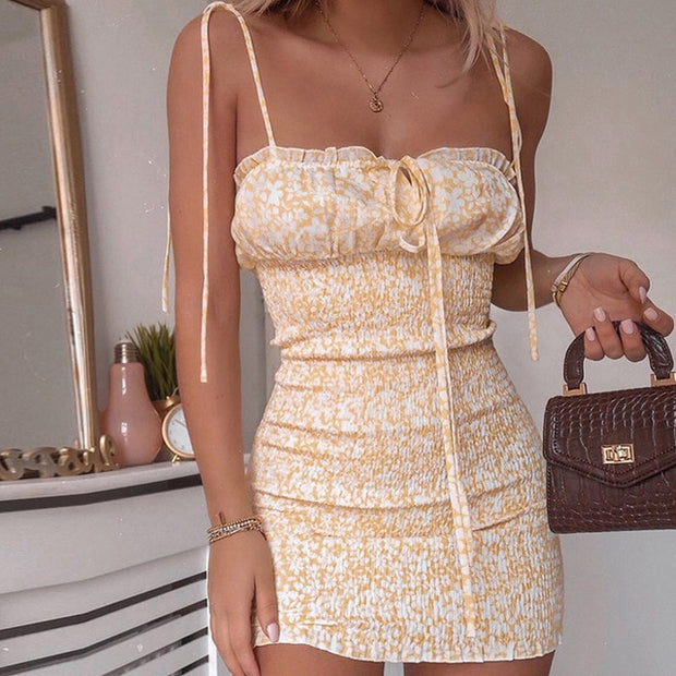 Summer Tie Front V Neck Elegant Sexy Floral Print Mini Dress Women Off Shoulder Ruffle Party Dress Femme Backless A-Line Dresses