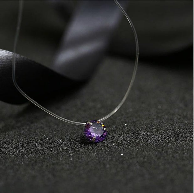 Fashion Shiny Crystal Necklace Zircon Pendant Transparent Fishing Line Invisible Ladies Necklace Jewelry Clavicle Chain Chocker
