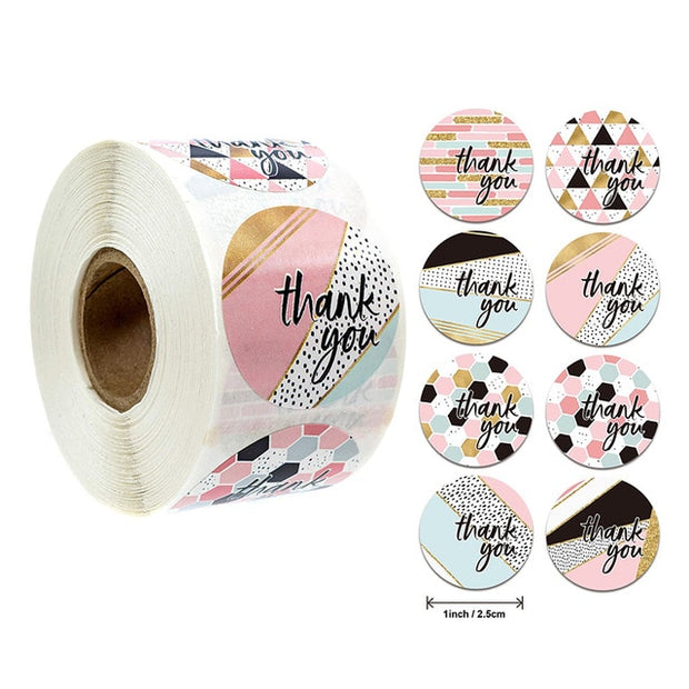 500pcs Thank You Stickers Seal Labels