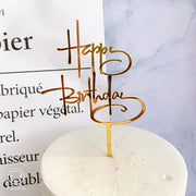 Promotional Acrylic Happy Birthday Cake Topper Rose Gold Silver Cake Topper For Kids Birthday Party Cake Decorations Baby Shower