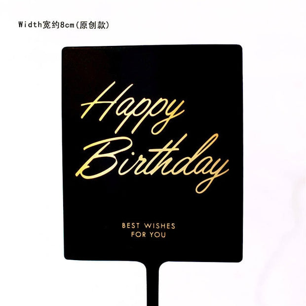 Black White Transparent Rose Happy Birthday