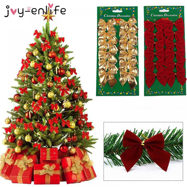Joy-Enlife 12pcs/lot  Bow Tie Christmas Tree Decoration Christmas Pendant Tree Decoration Baubles Fashion New Year Supplies
