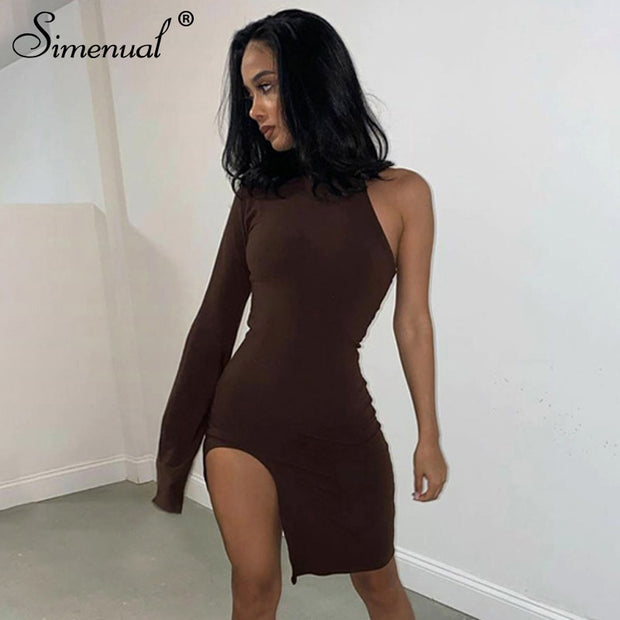 Simenual One Shoulder Long Sleeve Women Bodycon Party Dresses Side Slit Autumn Fashion Sexy Skinny Clubwear Mini Dress Solid Hot