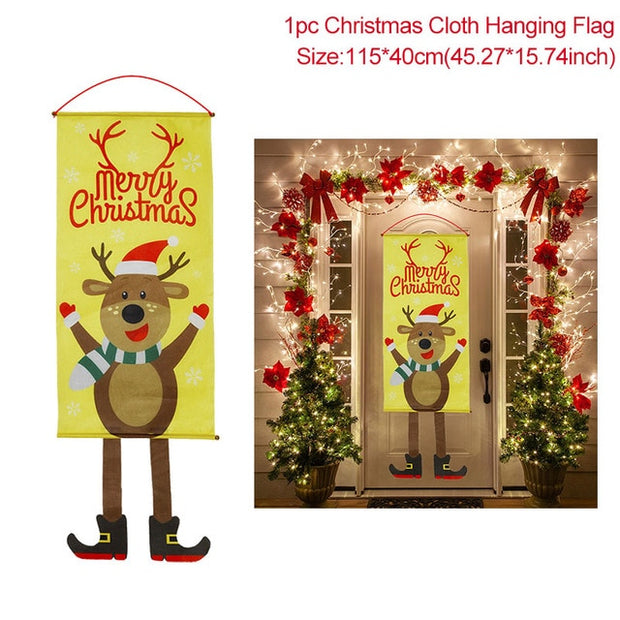 Merry Christmas Porch Door Banner Hanging Ornament Christmas Decoration For Home Xmas Navidad 2020 Happy New Year 2021