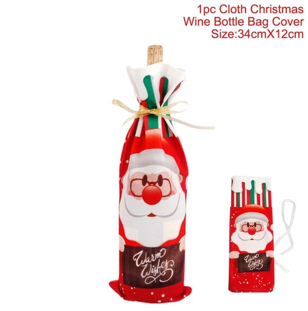 Christmas Wine Bottle Cover Merry Christmas Decorations For Home 2020 Christmas Ornament New Year 2021 Xmas Navidad Gifts