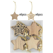 12pcs/box Christmas Wooden Pendants
