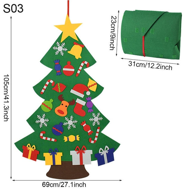 DIY Felt Christmas Tree Decorations Kids Gifts Xmas Tree Door Wall Hanging Ornaments Artificial Tree for Home Navidad Decor 2021