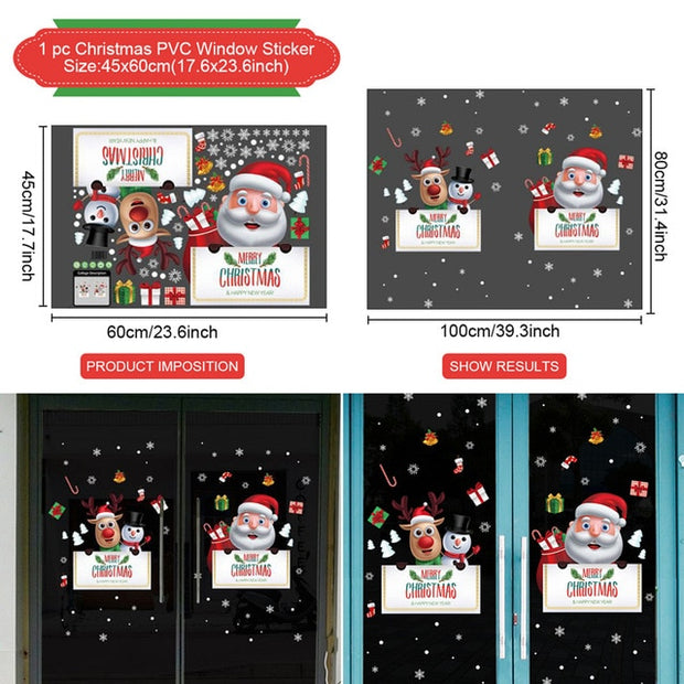 Window Stickers Christmas Decorations For Home 2020 Navidad Natal Merry Christmas Ornaments Cristmas Gifts Happy New Year 2021