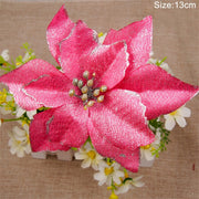 5pcs Glitter Christmas Flower Artificial Flowers Merry Christmas Decorations for Home 2020 Xmas Tree Ornaments New Year Gift
