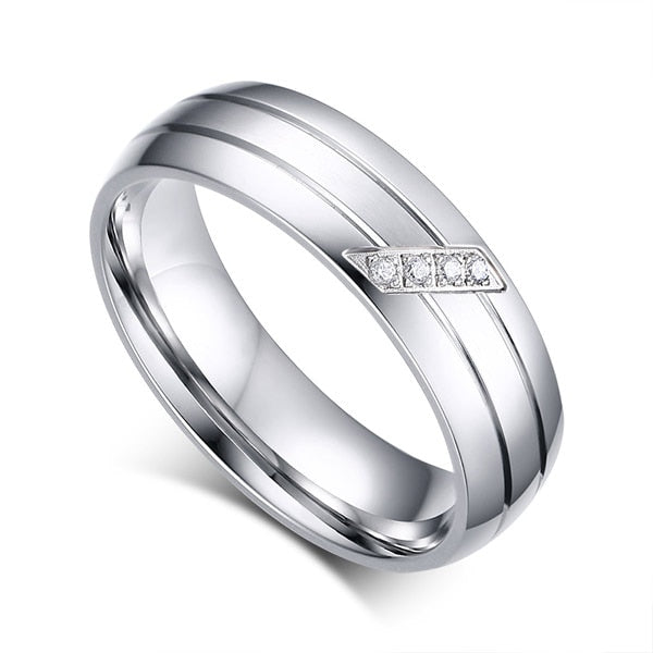Stainless Steel Wedding Engagement Ring