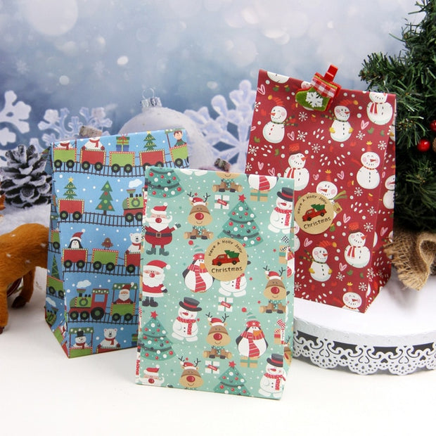 6PCS/Set Mix Types Snowflakes Candy Gift Bags Snowman Merry Christmas Guests Packaging Gifts Boxes Christmas Party Gift Decor