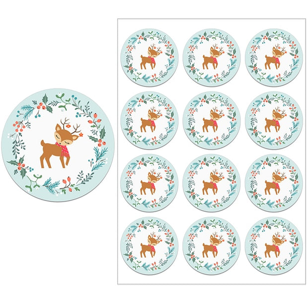 Merry Christmas Decor Stickers Santa Deer Packaging Multiple Seals Sticker Labels for Envelope New Year Party Xmas Decor Gifts