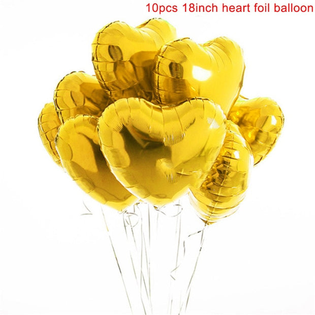 10pcs Multi Rose Gold Heart Foil Balloons Helium Balloon Birthday Party Decorations Kids Adult Wedding Valentine's Day Ballons