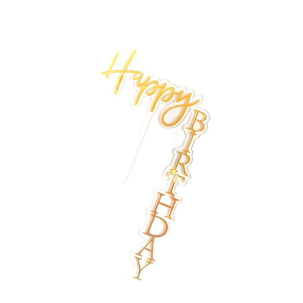 INS New Happy Birthday Cake Topper Rose Gold Acrylic Vertical Creative Gold Cake Topper For Birthday Party Cake Decorations