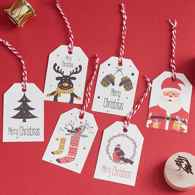 50pcs Merry Christmas Tags Kraft Paper Card Gift Label Tag DIY Hang Tags Gift Wrapping Decor Gift Card Christmas Favors Supplies