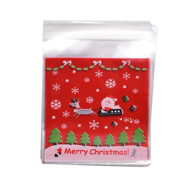 50pcs 10x10cm Christmas Candy Bags Cute Pumpkin Ghost Gift Bag For Cookies Snack Food Packing Christmas Party Decor Supplies