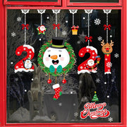 Merry Christmas Stickers Santa Claus Deer Xmas Tree Frozens Snowflake Wall Window Stickers Ornaments Navidad 2021 New Year Decor