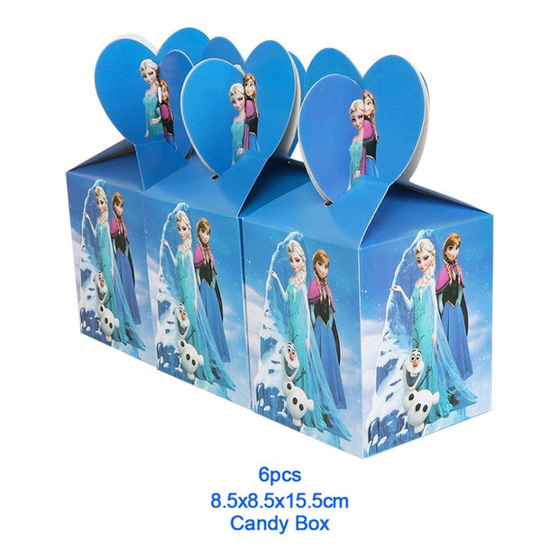 Disney Frozen Design Girls Birthday Party Decorations Gift Bag Paper Cups Plates Spoon Baby Shower Disposable Tableware Supplies
