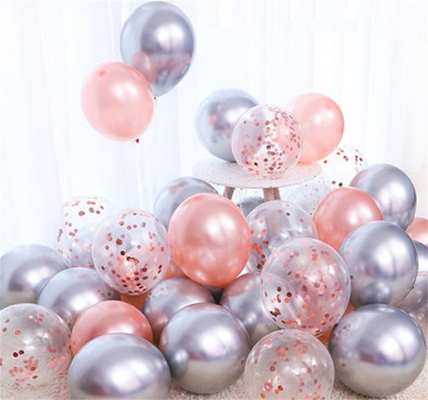 18pcs 10inch Gold Silver Pink Chrome Latex Balloons Confetti Wedding Birthday Navidad Party Decorations Helium Globos New Year