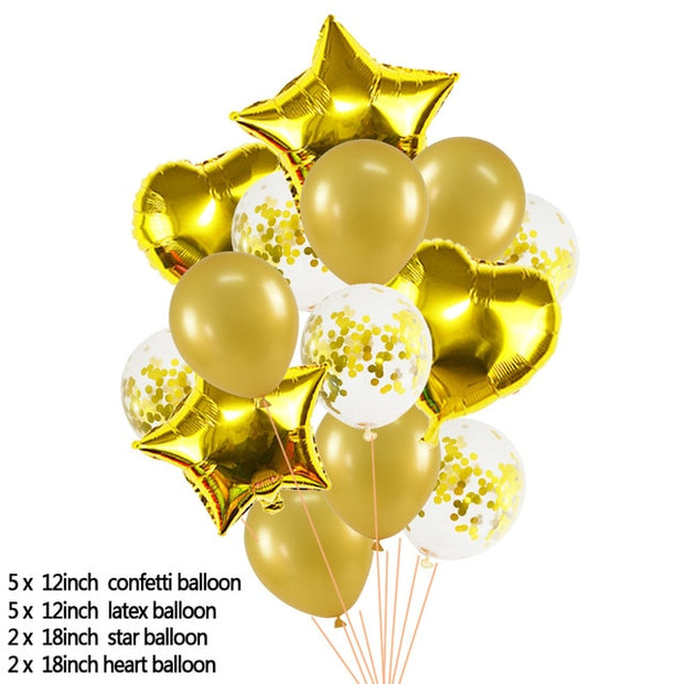 Heart Star Foil Balloon 12inch Confetti Latex Balloons Wedding Party Decoration Kid Children Birthday Supplies
