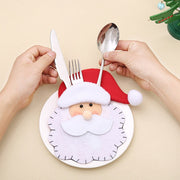 Santa Hat Reindeer Christmas New Year Pocket Fork Knife Cutlery Holder Bag Home Party Table Dinner Decoration Tableware 62419