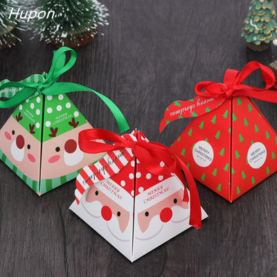 10pcs Christmas Packing Gift Bag Candy Boxes for Kids Birthday Wedding Favors Box Packaging Paper Bags Event Xmas Party Supplies
