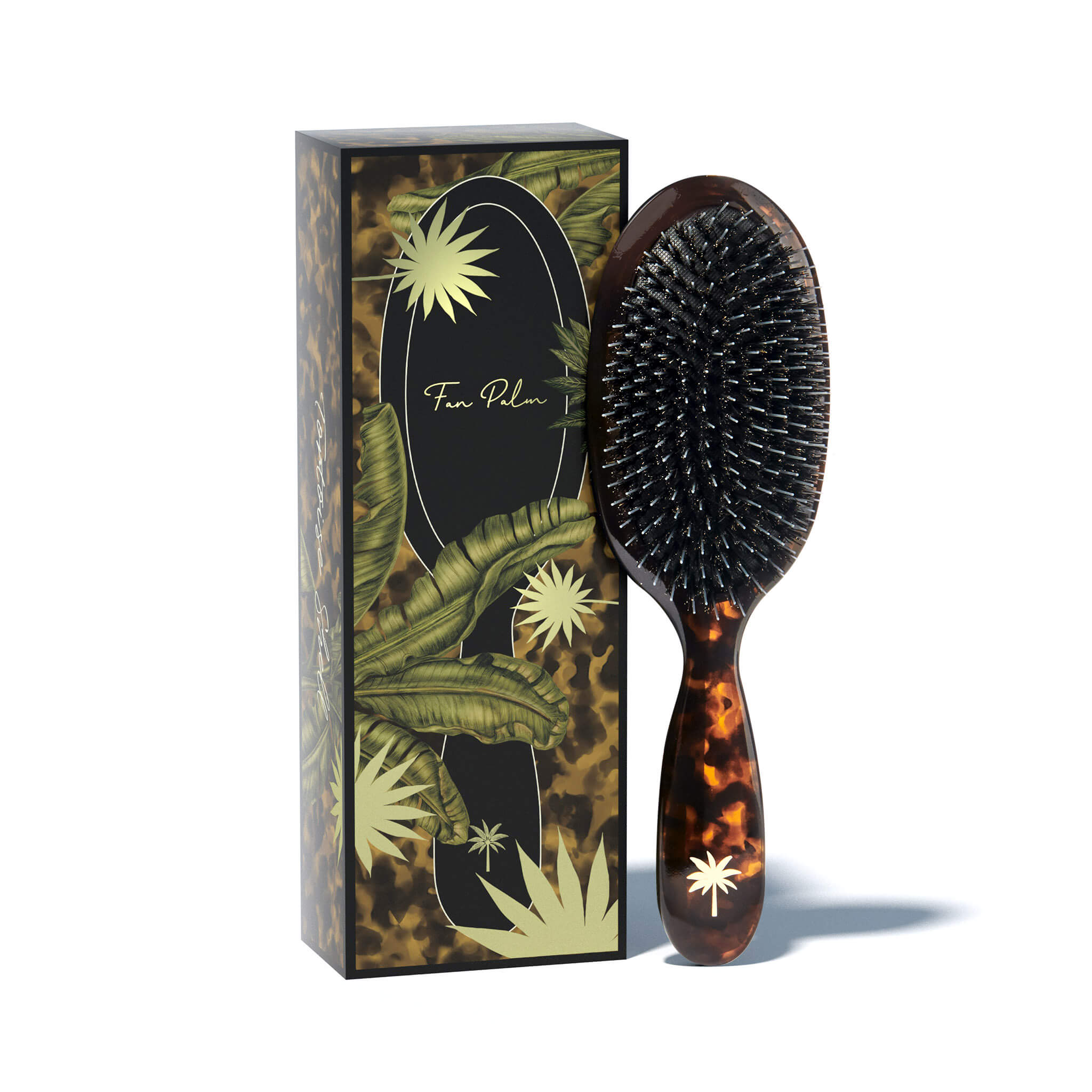 Fan Palm Hair Brush - Turtle - Medium