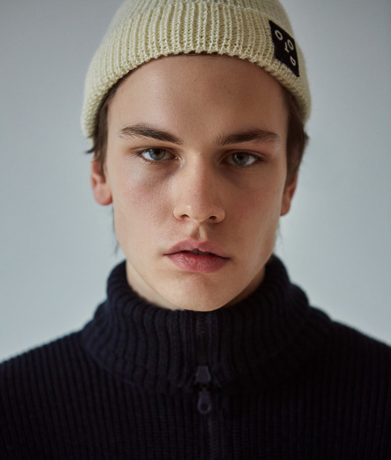Knitted Rib Beanie, Off White 2