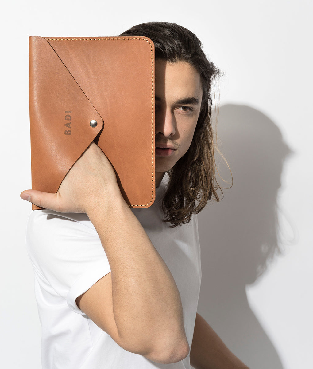 Leather Envelope / iPad Cover, Cognac