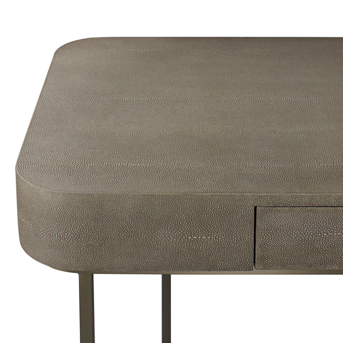 Dove Faux Shagreen / Brushed Pewter