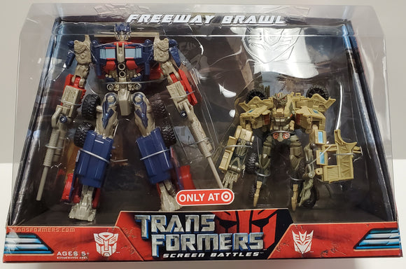 Transformers Freeway Brawl Screen Battles Target Exclusive Optimus Prime vs Bonecrusher Sealed - collectablekingdom