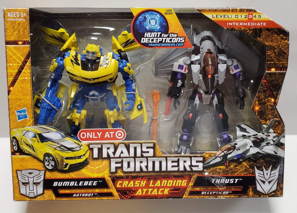 Transformers Hunt For The Decepticons Target Exclusive Crash Landing Attack Bumblebee vs Thrust