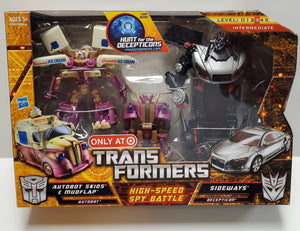Transformers Hunt For The Decepticons Target Exclusive High Speed Spy Battle Autobot Skids & Mudflap vs Sideways