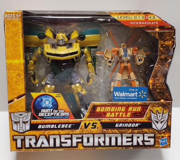 Transformers Hunt For The Decepticons Walmart Exclusive Bombing Run Battle Bumblebee vs Grindor