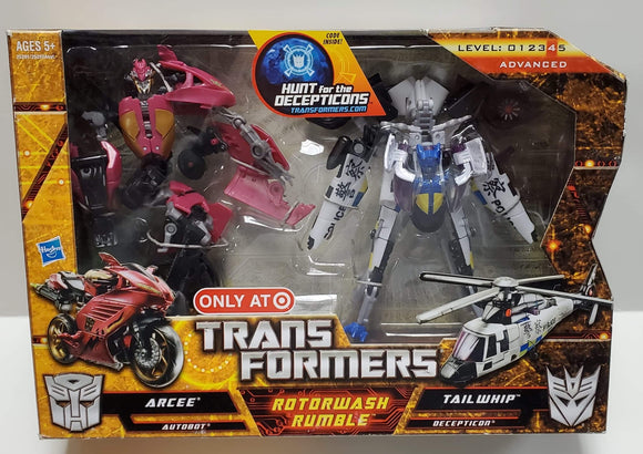 Transformers Hunt For The Decepticons Target Exclusive Rotorwash Rumble Arcee vs Tailwhip sealed
