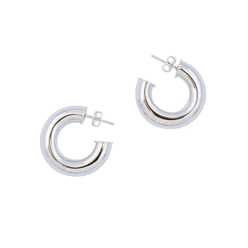 Rhodium Donut Pierced Hoops