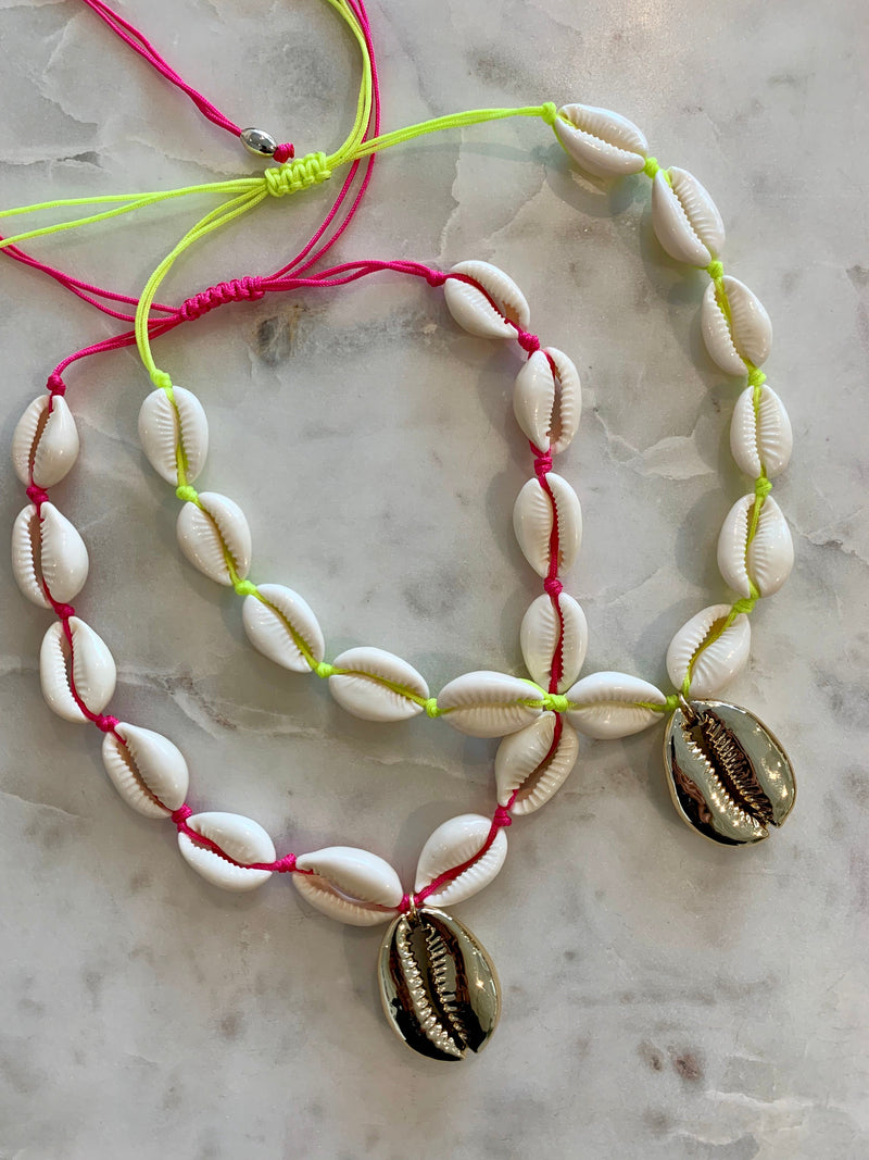 PUKA CHOKER, NEON PUKA NECKLACE, COWRIE SHELL NECKLACE