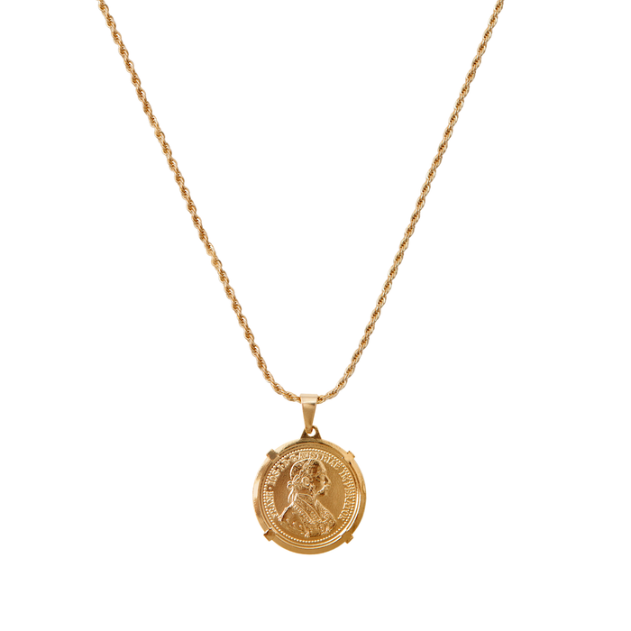 coin necklace, medallion necklace