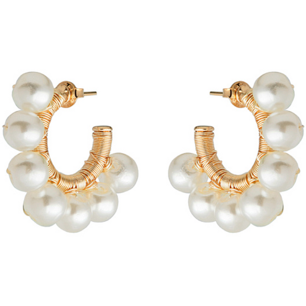 Pearl Hoop Earrings, Pearl Hoops